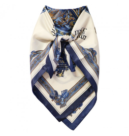 ACCESSORIES BOOK of KELLS SQUARE SIGNATURE SCARF - Navy/Blue/Beige
