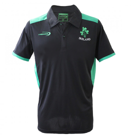 SHIRTS LANSDOWN BLACK PERFORMANCE POLO with SHAMROCKS