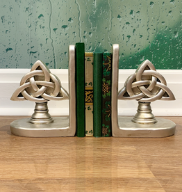DECOR BRUSHED NICKEL TRINITY KNOT BOOKENDS