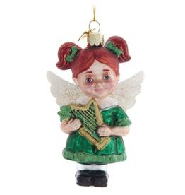 ORNAMENTS IRISH ANGEL GLASS ORNAMENT