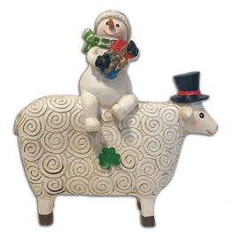 HOLIDAY DECOR IRISH SNOWMAN with HIS SHEEP