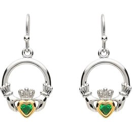 EARRINGS PlatinumWare GREEN CZ & GOLD PLATE CLADDAGH EARRINGS
