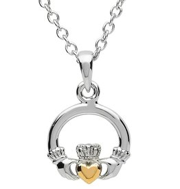 PENDANTS & NECKLACES PlatinumWare SMALL CLADDAGH PENDANT WITH GOLD PLATED HEART