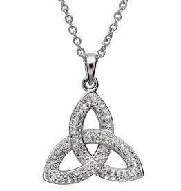 PENDANTS & NECKLACES SHANORE STERLING WHITE TRINITY PENDANT with SWAROVSKI CRYSTALS