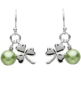 EARRINGS PlatinumWare SHAMROCK & GREEN PEARL EARRINGS