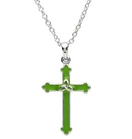 CROSSES PlatinumWare GREEN ENAMEL CROSS WITH TRINITY PENDANT