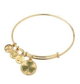 BRACELETS & BANGLES SOLVAR GOLD TONE GREEN SHAMROCK CHARM BANGLE