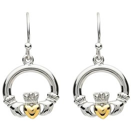 EARRINGS PlatinumWare LARGE CLADDAGH EARRINGS WITH GOLD PLATED HEART