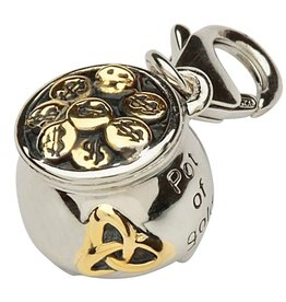 CHARMS STERLING SILVER & GOLD PLATE POT OF GOLD CHARM