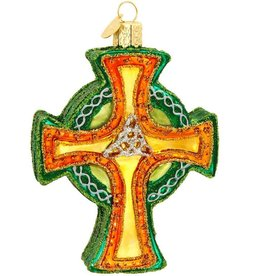 ORNAMENTS IRISH TRINITY CROSS GLASS ORNAMENT
