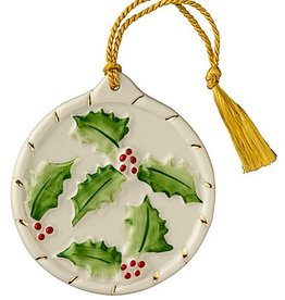 ORNAMENTS ROUND HOLLY BELLEEK ORNAMENT