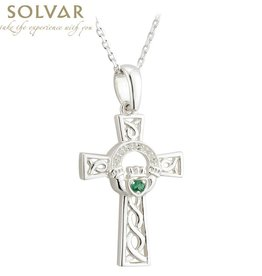 CROSSES SOLVAR STERLING CLADDAGH CROSS PENDANT with GRN STONE