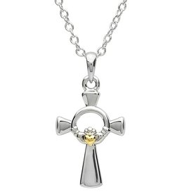 CROSSES PlatinumWare SMALL GOLD HEART CLADDAGH CELTIC CROSS