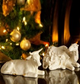 HOLIDAY BELLEEK NATIVITY MANGER OX AND CAMEL SET