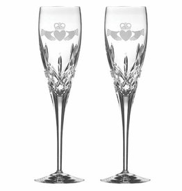 WEDDING GALWAY CRYSTAL CLADDAGH TOASTING FLUTES (2)
