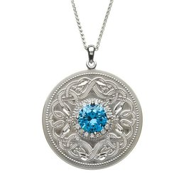 PENDANTS & NECKLACES BORU STERLING LRG WARRIOR PENDANT with SWISS BLUE & CLEAR CZs