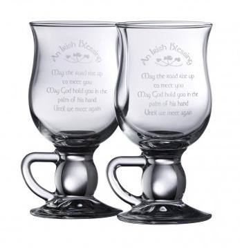 "BARWARE GALWAY CRYSTAL ""IRISH BLESSING"" COFFEE GLASSES (2)"