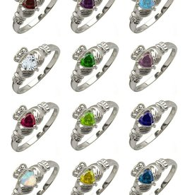 RINGS CLEARANCE - CLADDAGH BIRTHSTONE RING - FINAL SALE