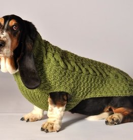 COLLARS & LEASHES DOG SWEATER - GREEN CABLE KNIT