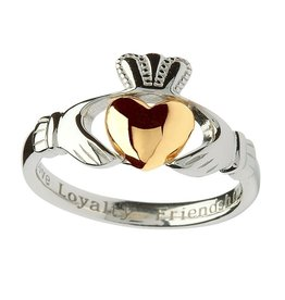 RINGS SHANORE STERLING & 10K INSCRIBED CLADDAGH RING