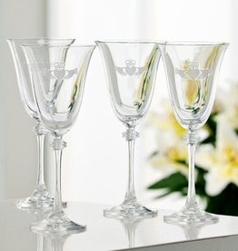 BARWARE GALWAY CRYSTAL ETCHED LIBERTY GOBLETS (4)