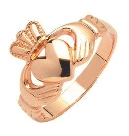 RINGS FADO 10K ROSE GOLD HEAVY LADIES CLADDAGH RING
