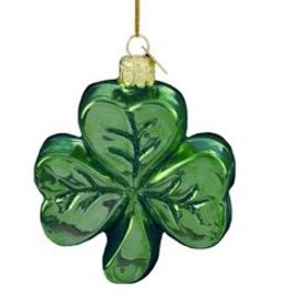 ORNAMENTS GLASS SHAMROCK ORNAMENT