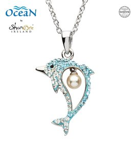PENDANTS & NECKLACES OCEANS STERLING DOLPHIN PENDANT with PEARL & SWAROVSKI CRYSTALS