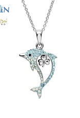 PENDANTS & NECKLACES OCEANS STERLING DOLPHIN PENDANT with SHAMROCK & SWAROVSKI CRYSTALS