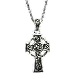 CROSSES SHANORE STERLING CELTIC TRIBES TRADITIONAL CROSS w/ TRINITY KNOT