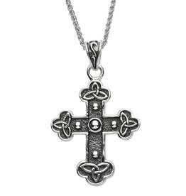 CROSSES SHANORE STERLING CELTIC TRIBES TRINITY CROSS w/ BEADS
