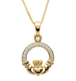 PENDANTS & NECKLACES SHANORE 10K PAVE CLADDAGH PENDANT