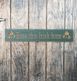 """PLAQUES, SIGNS & POSTERS """"BLESS THIS IRISH HOME"""" CARVED WOOD SIGN"""