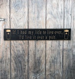 """PLAQUES & GIFTS PINT """"LIVE OVER..."""" CARVED WOOD SIGN"""
