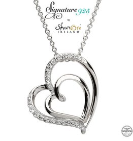 PENDANTS & NECKLACES SIGNATURE 925 - DOUBLE HEART PENDANT with SWAROVSKI CRYSTALS