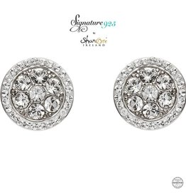 EARRINGS SIGNATURE 925 - HALO CLUSTER EARRINGS with SWAROVSKI CRYSTALS