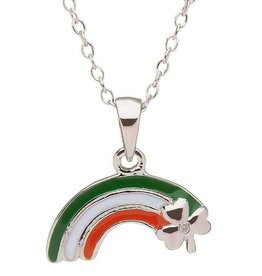 PENDANTS & NECKLACES CLEARANCE - LITTLE MISS STERLING RAINBOW PENDANT with SHAMROCK - FINAL SALE