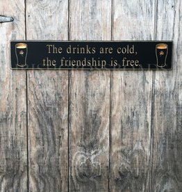 """PLAQUES & GIFTS PINT """"DRINKS ARE COLD..."""" CARVED WOOD SIGN"""