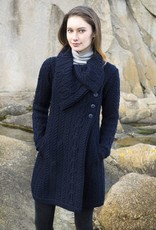 SWEATERS CHUNKY COLLAR COAT with BUTTONS