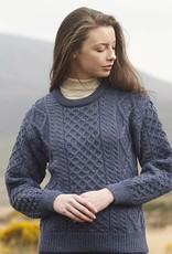 SWEATERS DENIM IRISH ARAN CREW NECK SWEATER