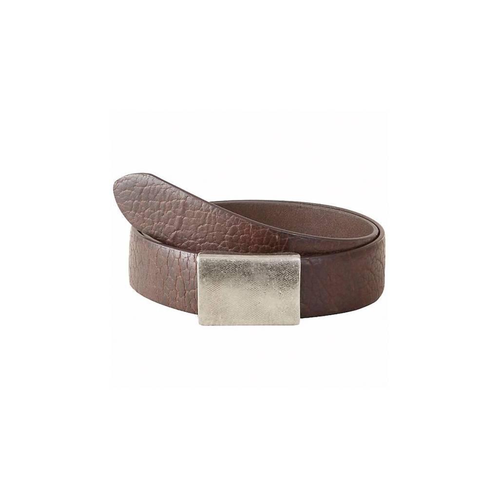 M Antique Pewter Plaque Bison Belt