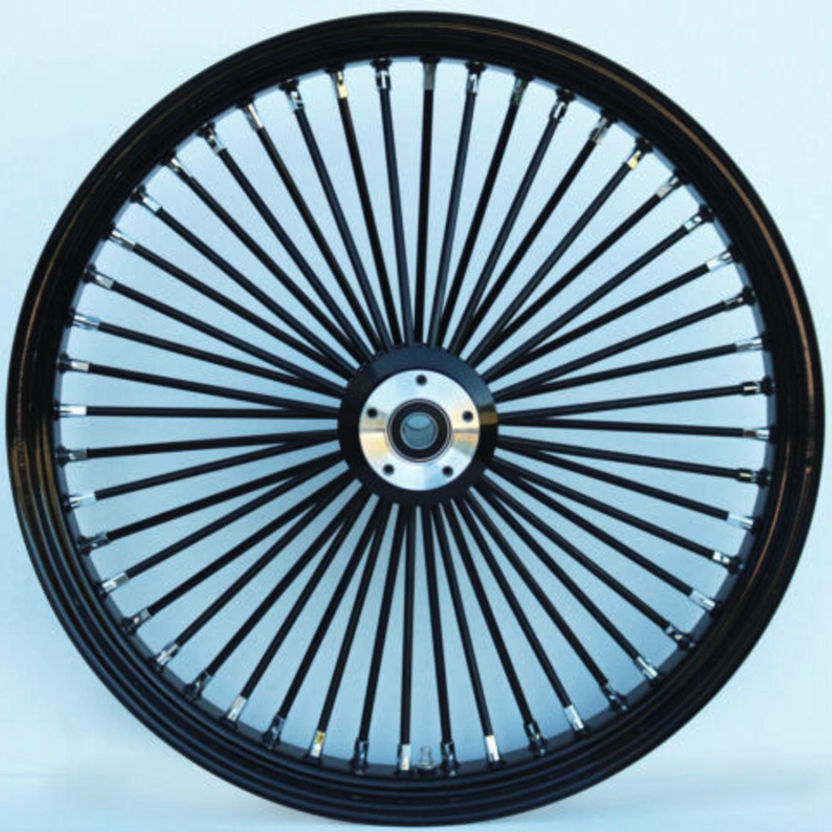 48 Fat Spoke Wheel - Front - Black/Black - Single - 1'' Axle - 21 x 3.5