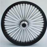 48 Fat Spoke Wheel - Front - Black/Chrome - Single - 3/4'' Axle - Narrow - 21 x 2.15