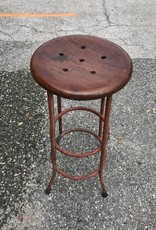 Antique Iron Stool w/ Teak Seat