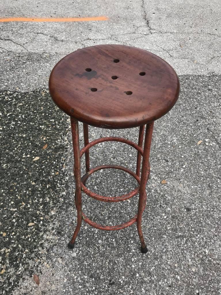Antique Iron Stool w/ Teak Seat