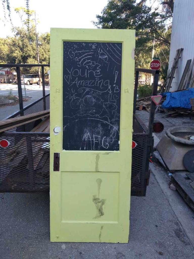 2 Panel Door W/ Chalk Paint  30 x 79