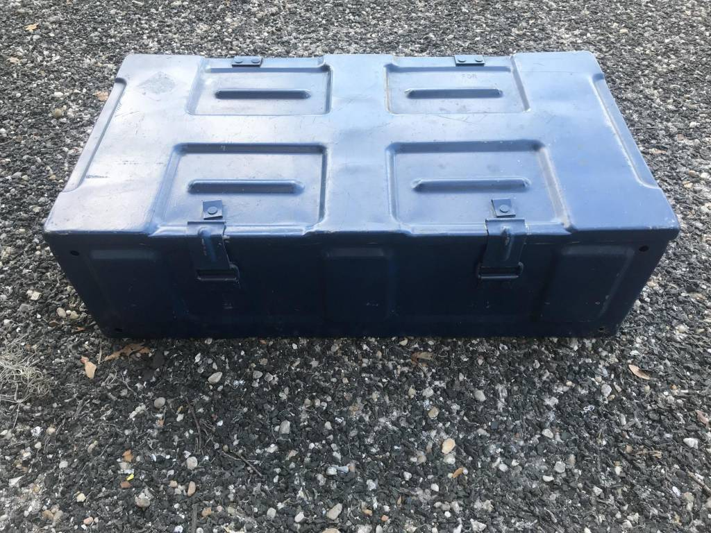 Blue Metal Chest With Handle