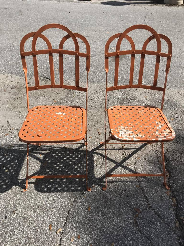 Orange Outdoor Chair - Orange Outdoor Chair - Sarasota Architectural Salvage, 1093 Central