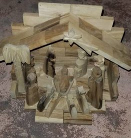 Carved Wooden Nativity Scene