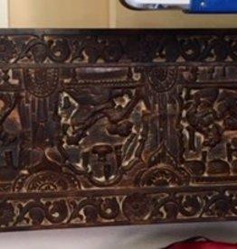 """Kama Sutra"" Hindu carved wood panel 71x18"